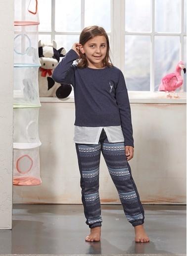 Zeyzey Nakışlı Kız Çocuk Pijama Takım Lacivert